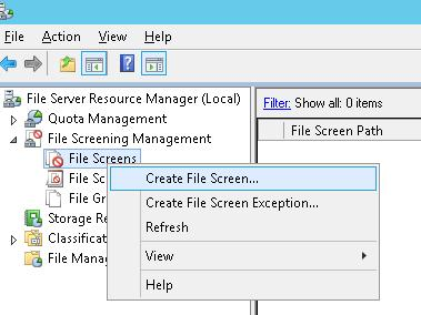 Create File Screen.