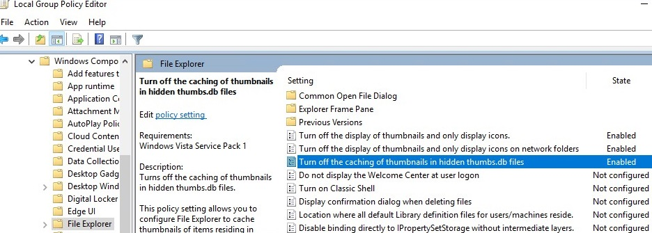 group policy - turn off thumbnails caching on network folders