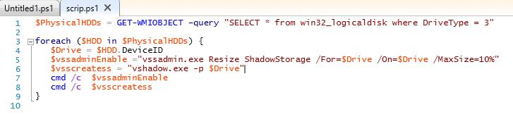 posh script to create shadow copy of volumes