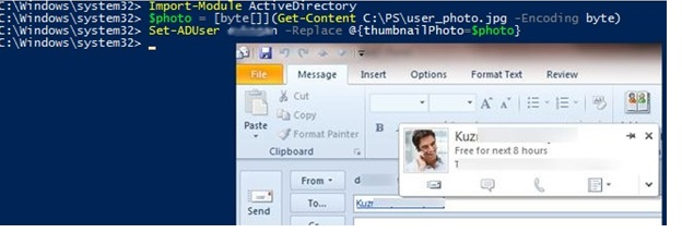 powershell set (upload) user thumbnailPhoto to active directory