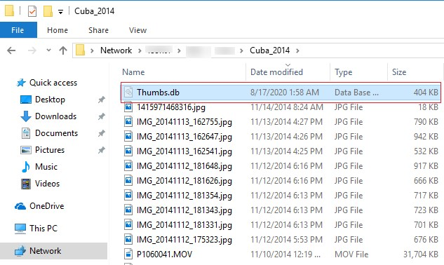 thumbs.db file on network shared folder windows 10