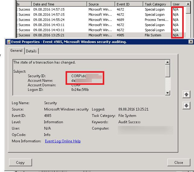 user field in the event viewer