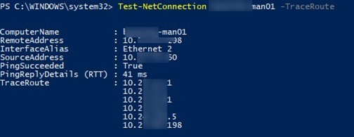 Test-NetConnection: powershell TraceRoute