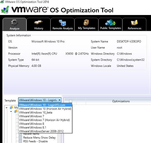 Templates in VMware OS Optimization Tool