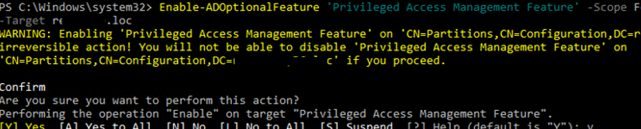 Enable-ADOptionalFeature 'Privileged Access Management Feature' in Active Directory forest