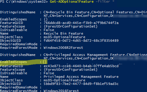 Get-ADOptionalFeature - check PAM enabled scopes