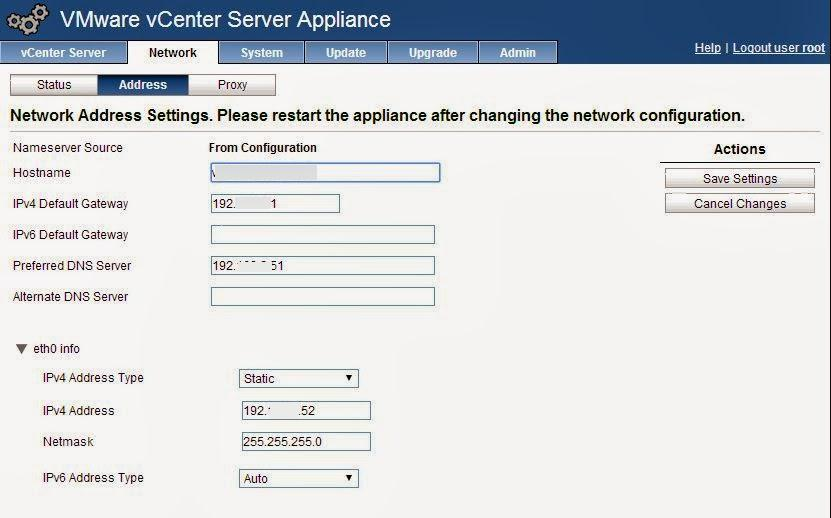 vcenter appliance ip settings