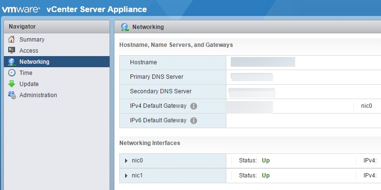 vcenter server appliance networking