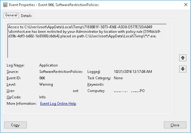 EventID 866 SoftwareRestrictionPolicies