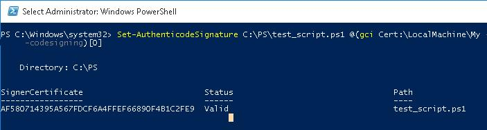 Set-AuthenticodeSignature PowerShell Script
