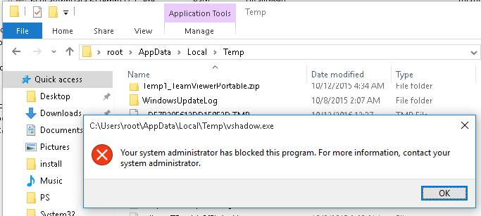 Your system administrator has blocked this program. For more info, contact your system administrator.