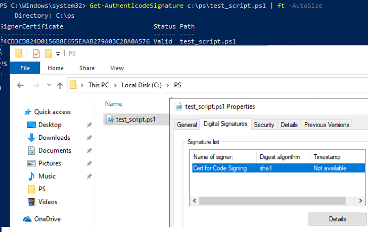Get-AuthenticodeSignature check signature of a signed powershell script