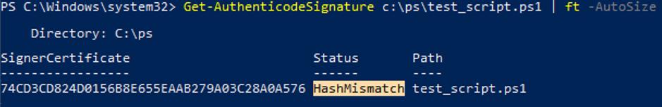 Get-AuthenticodeSignature HashMismatch