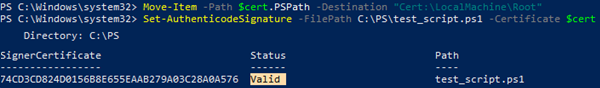 powershell move certificate to trusted root