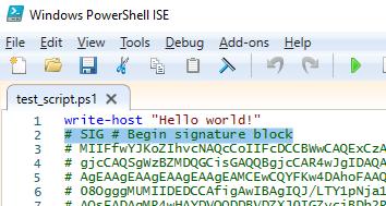 signature block in powershell script file
