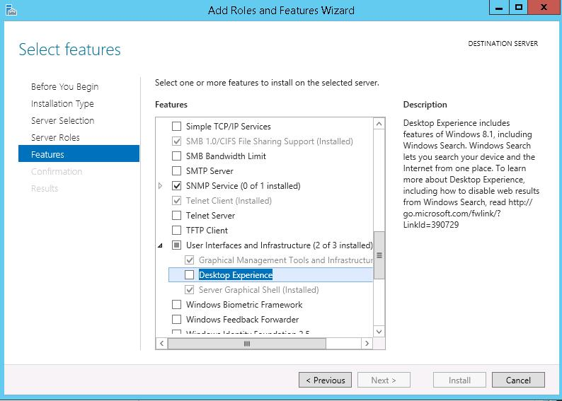 Desktop Experience feature on Windows server 2012 R2