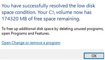 You have successfully resolved the low disk space condition
