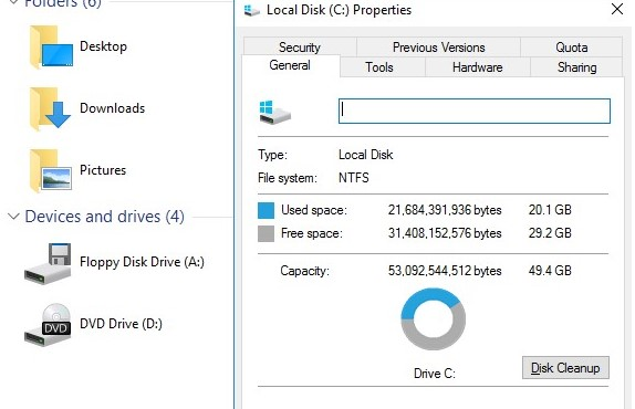 run disk cleanup on windows server