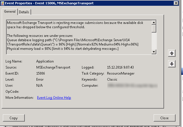 EventID 15006 - MSExchangeTransport rejecting message submissions