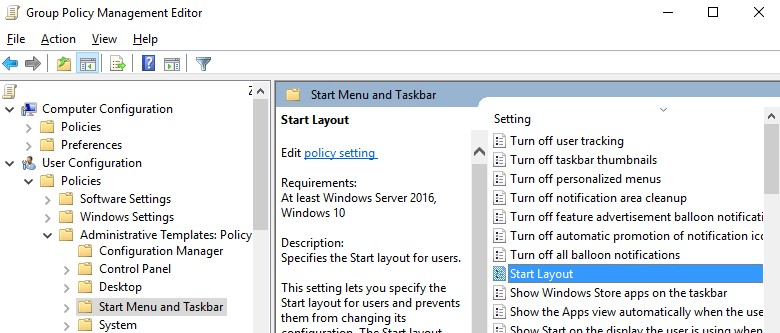 Windows 10 Start Menu and Taskbar policy - Start Layout