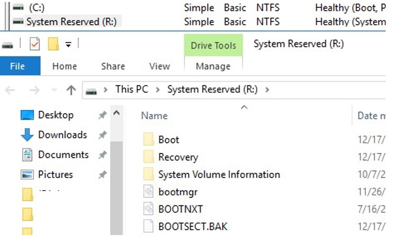 content of system reserved partition in windows 10
