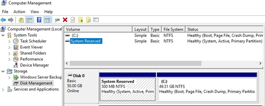 hidden system reserved partition on windows10