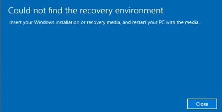 Could not find the recovery environment windows 10