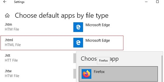 select a default app by file type