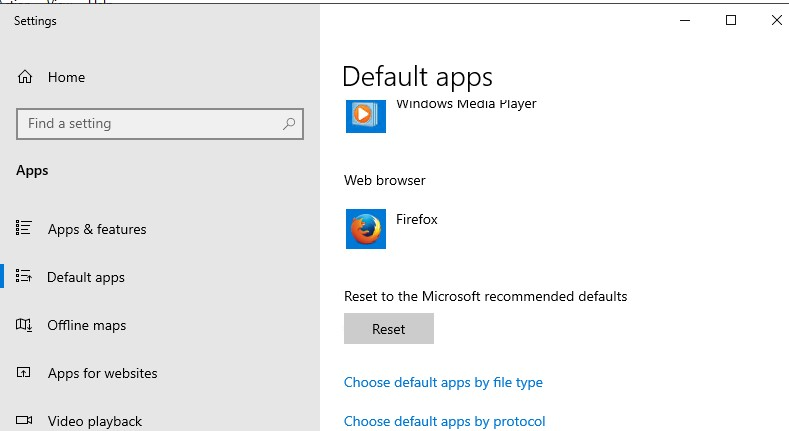 reset file assotiation to defaults on windows 10