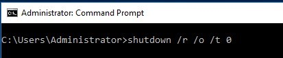 shutdown -o (parameter to boot into winre)