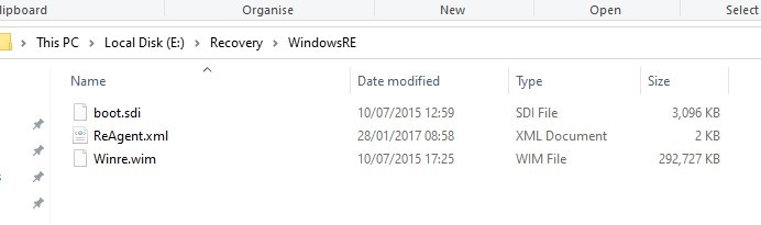 windows recovery environment files on system reserved partition (winre.wim, boot.sdi, ReAgent.xml) )