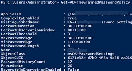 Get-ADFineGrainedPasswordPolicy - list custom password policies in active directory with powershell