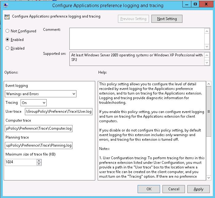 configure application preferences logging and tracing