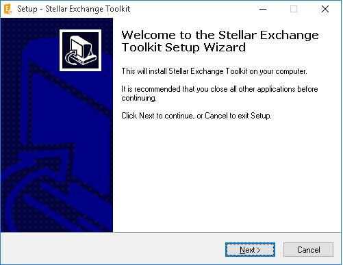 stellar exchnage toolkit setup screen