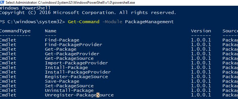 Get-Command -Module PackageManagement