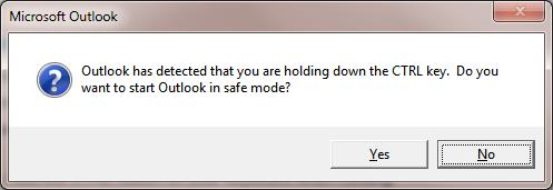 Outlook has detected that you are holding the CTRL key. Do you want to start Outlook in safe mode