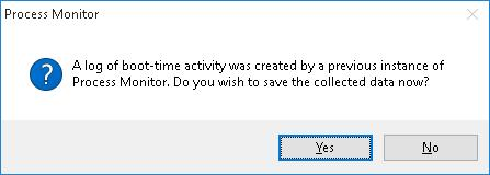 save boot time activity log