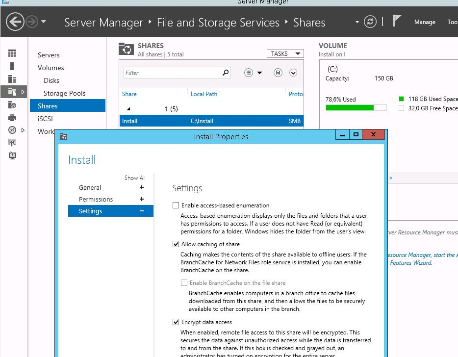 windows server 2012 Encrypt Data Access SMB Share