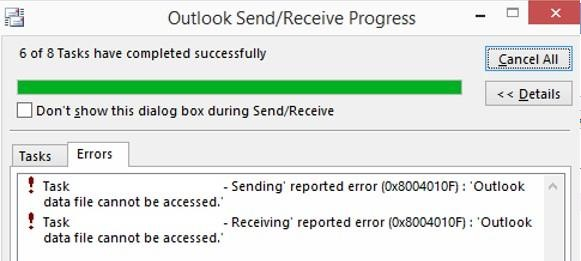 Outlook Error 0x8004010F: Outlook Data File Cannot be Accessed