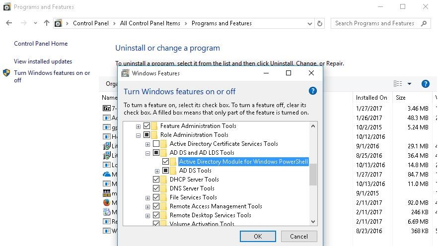 RSAT Win 10 - enable Active Directory Module for Windows PowerShell
