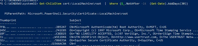 powershell Get-ChildItem: list expired root certs on a computer