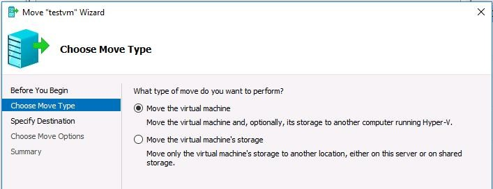 Move the virtual machine wizard