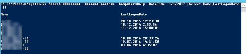 Search-ADAccount list Inactive computers in domain