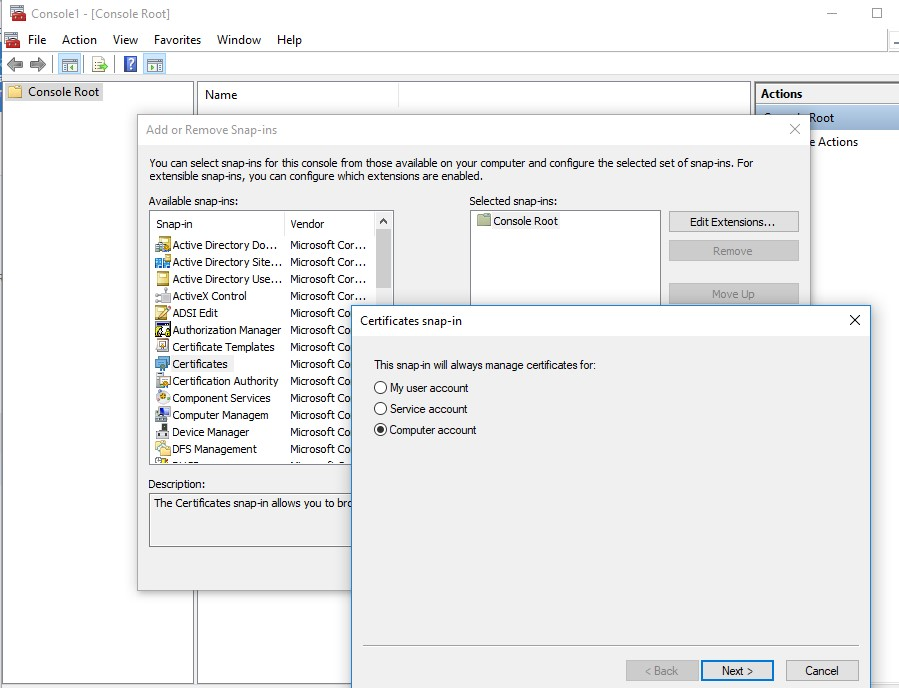 run certificate management snap-in in windows 10