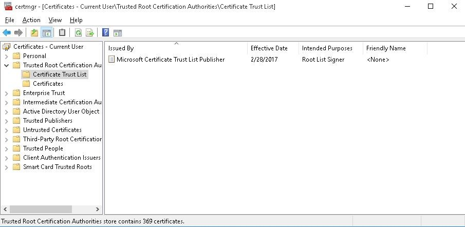 updating list of trusted root certificates in windows 10 7