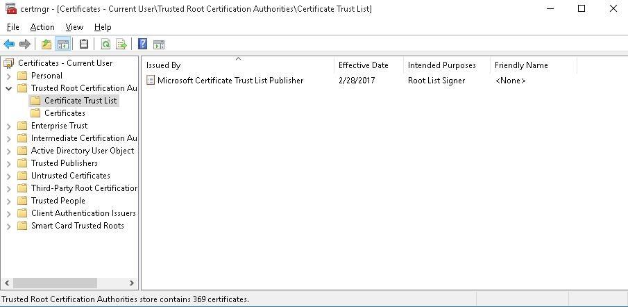 certmgr Microsoft Certificate Trust List Publisher