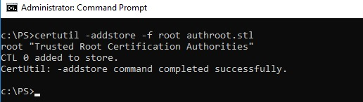 certutil addstore root authroot.stl