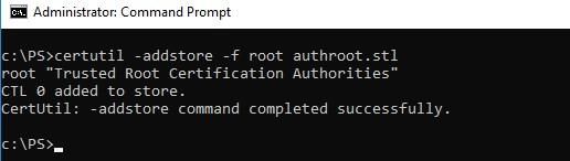 certutil addstore root authroot.stl