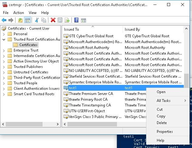 delete certificate from trusted root certification authorities