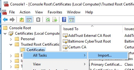 import root certificate from a CER file in windows 10
